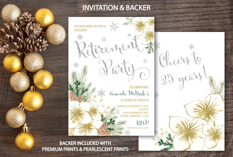 Holiday Retirement Party Invitation // Winter Retirement ...