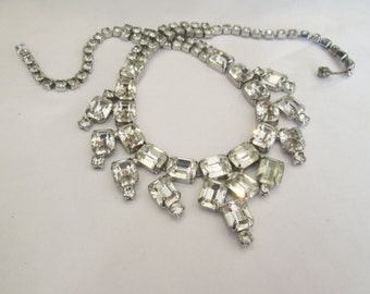 Signed Weiss Clear Rhinestone Silver Necklace