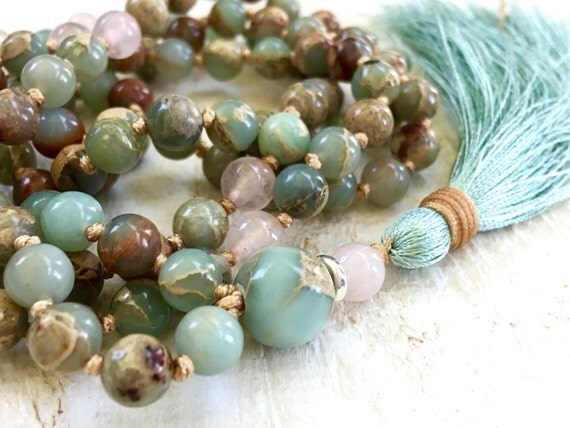 African Opal Mala Beads, Hand Knotted Tassel Mala, 108 Bead Mala Necklace, Silk Tassel Mala Necklace, Yoga Jewelry, Prayer Beads