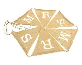 Mr & Mrs Burlap Triangle Banner, 7-Inch