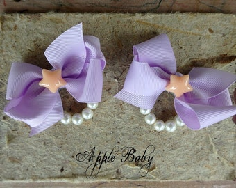 Baby bows, kids bows, toddler bows, pigtail set, pigtail bows, birthday bows, star bows, lavender bows