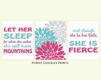 And Though She Be But Little She is Fierce Let Her Sleep Pink Aqua Gray Flowers Decor Nursery Art Print 8x10 Wall art Prints 174(ab)