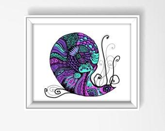Nautilus Drawing, Nautilus Print, Nautilus Spiral, Nautilus Wall Art, Nautilus Decor, Beach Home, Snail Art, Nautilus Zentangle Art 1008A