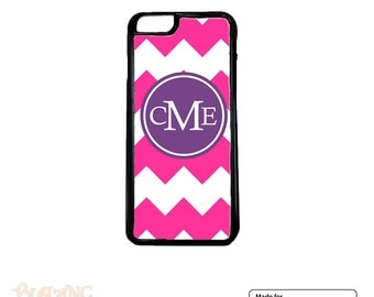 Personalized iPhone Case, iPhone 4 4S, iPhone 5 5S 5C, iPhone 6/6s, iPod Touch, custom iPhone Case, Hot Pink chevron purple monogram(Dzn-01)