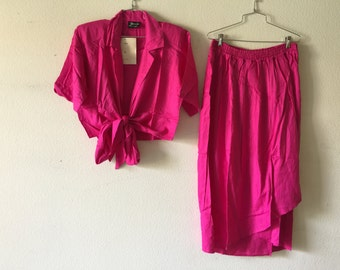 Vintage 1980's Blouse and Skirt Two Piece Set India
