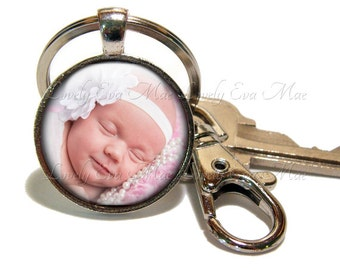 Personalized Keychain, Custom Keychain, Photo Keychain, with Clip, Key Fob, Key Ring, Keyring, Circle, Custom Photo, Personalized gift