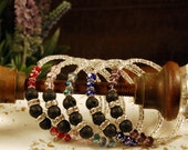 SALE ~ Glass Bead & Silver Memory Wire Bracelet with Lava Stone. Diffuser Jewelry. Aroma Tools. Amethyst. Sapphire. Ruby. Pink. Blue. Red