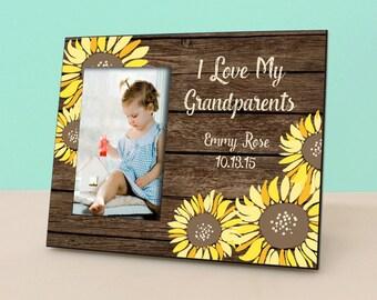 Grandparent Gift - Rustic Sunflower Frame - I Love My Grandparents - Rustic Custom Picture Frame - Photo Frame -PF1308