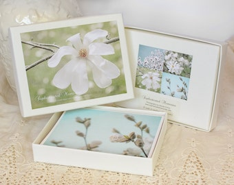 Greeting Card Set - Photo Note Cards - Gift for Her - Box Set of Handmade Cards - Magnolia Flowers - Aqua Blue and Green - White Flowers
