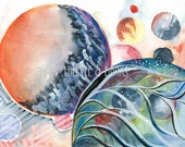 Surreal Watercolour Illustration, Space and Galaxies Art Print 'Anthropic Tones'