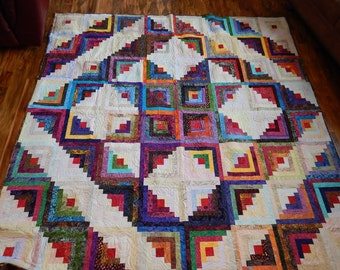 Bedspread - California King Quilt - Queen w/ Drop Quilt - Wall Hanging - Point Star Quilt -  Batik Log Cabin Quilt