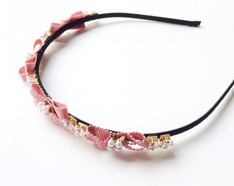 Cadence Headband - Wedding headband - Pink Bow headband - Rhinestone headband - Womens headband - Goddess headband - Pearl headband