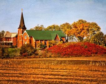 Fall Wall Art, Fall Photography, Fall Decor, Fall Print, Autumn Print, Church Art, Christian Gifts, Ontario, Christian Prints, Canada