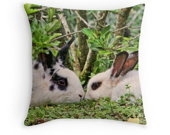 Rabbit Decor, Rabbit Lover Gift, Rabbit Pillow, Rabbit Cushion, White Rabbits, Easter Bunny, Bunnies, Wildlife Decor, Nature Decor