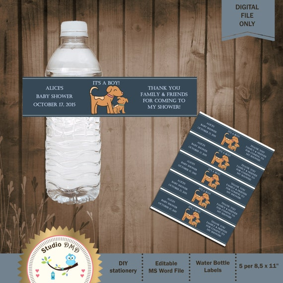 Water Bottle Name Tags: Dogs Baby Shower Water Bottle Labels Baby Dog Shower Ideas
