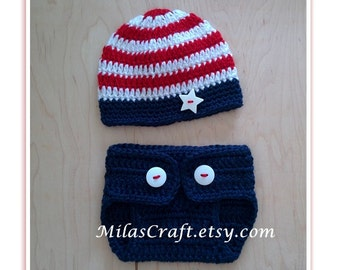 Patriotic Baby Boy/Girl Set,Crochet Baby Boy/Girl Set:Hat and Diaper Cover,Baby Shower Gift,Photo Prop,4th of July, Newborn outfit