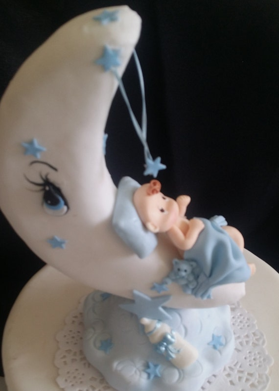 Baby On Moon Cake Topper