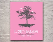 25th Silver Wedding Anniversary - Tree Gift - Personalized Anniversary Gift for Parents - Add Any Wording of Your Choice