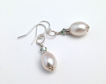 Pearl Earrings, Bridal Earrings, White Pearl Jewelry, Sterling Silver Earrings, Wedding Jewelry, Anniversary Gift for Wife, Freshwater Pearl