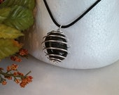 Reiki Sm Black Agate  Stone with Silver Plated Spiral Cage Necklace