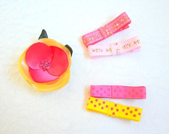 Yellow pink baby clip set, Baby non-slip clips, Flower baby clip, Toddler hair clips, Flower hair clip, Dotted hair clips, Blossom hair clip