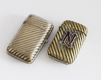 2x French Vesta Cases Antique Match Safe Pill Box