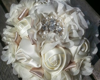 satin Ribbon rose wedding bouquet, any colours