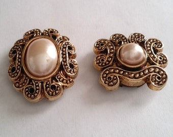 Cute Vintage Gold Tone Faux Pearl Scroll Button Covers Set of 2