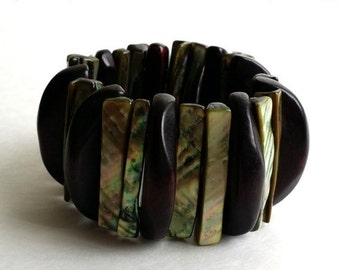 Clearance Vintage Dark Wooden & Abalone Shell Stretch Expandable Chunky Bangle Bracelet