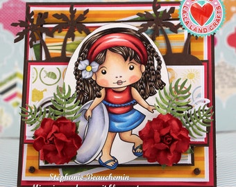 Girl on vacation with palm trees ocean water waves card