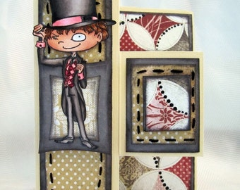Young boy trifold card