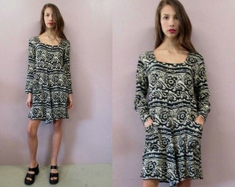 Vintage 90s Romper Mini Dress//one piece jumper black ethnic print shorts hipster 1990s grunge//see measurements