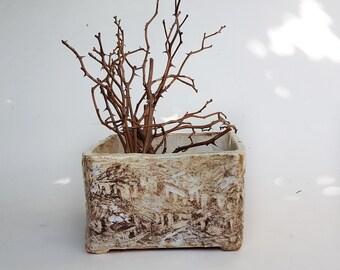 Ceramic Square Succulent Planter, Pottery Square Vessel, cactus plant pot, bonsai Square planter