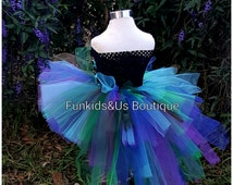 Peacock Bustle Style Tutu with train  - Peacock Feather Bird Bustle Tutu  Baby Girl 6 12 Months 2T 3T 4T 5T 6 7 8 10 12 Adult-