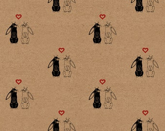 """Wrapping Paper Sheet: Handmade Kraft Gift Wrap Sheet with Rabbits and Hearts // Love Theme // Gift Wrapping // (70cm x 50cm / 27.5"""" x 19.5"""")"""