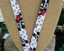 Fun Mickey Mouse Lanyard ID Holder Badge Holder in Classic Colors Red, Black, White and Gray