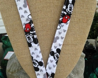 Disney Lanyard Mickey Mouse ID Holder Badge Holder in Classic Colors Red, Black, White and Gray