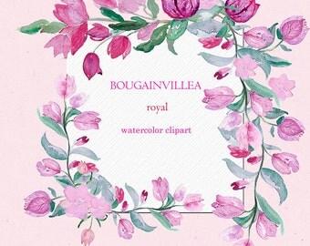 Bougainvillea clip art, Digital Watercolor clipart hand drawn. Bougainvillea, rustic wedding, bright, pink fucshia flowers invitations