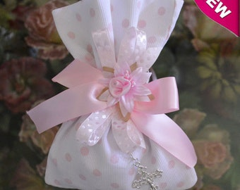 Baptism Christening Baby shower favor bag almond favor with rosary Bomboniere Made in Italy
