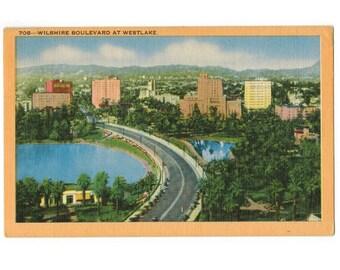 Los Angeles California vintage linen postcard | MacArthur Park, Wilshire Boulevard, Westlake | 1940s LA CA travel decor, vacation souvenir