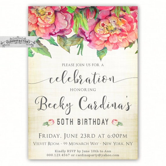 Items Similar To 50th Birthday Invitations For A Woman