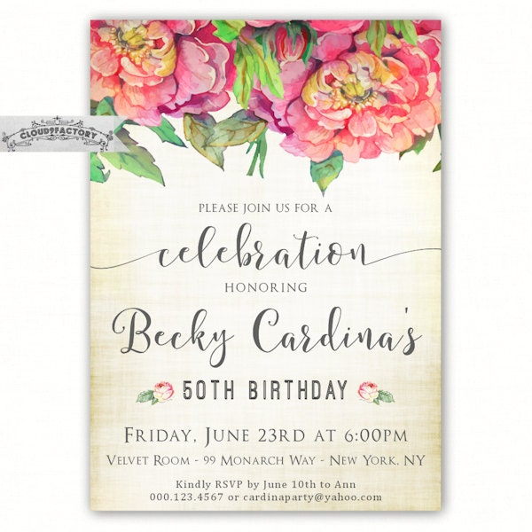 50th Birthday Invitations For A Woman Adult Birthday Party
