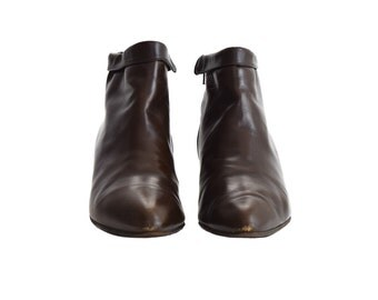 Vintage Boots, Women's Boots, 1980s Boots, Brown Leather Boots, Ankle Boots, Short Boots, Boots, Low Boots , Hipster Boots