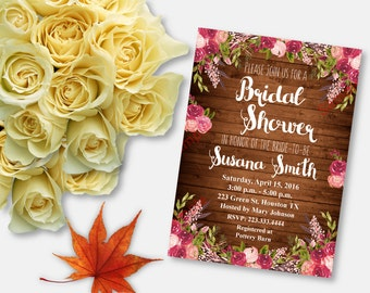 Bridal Shower Invitation - Bridal Shower Printable - Floral Bridal Shower - Rustic Invitation - Flowers/Brown Invitation