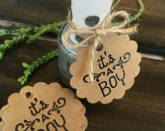 It's a Boy Party Favor Tag-Baby Boy Shower Favor Tag-Nail Polish Baby Shower Favor Tag-Bridal Shower-Spa Party-Hand Embossed Tags-20ct