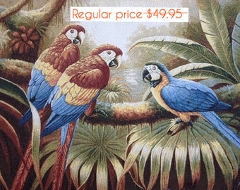 SALE Parrots Pillow Cover, Decorative Pillow Cover, Pillow Case, Cushion Cover, Tapestry Pillow, Throw Pillow, 27 x 18 Pillow Cover