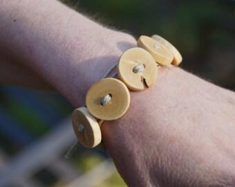 Olive Wood Button Bracelet