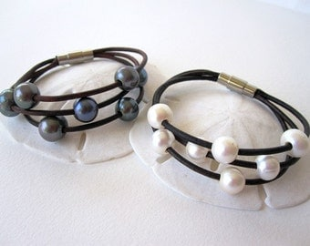 Pearl and Leather Bracelet -  3 Strand Leather Bracelet - pearl and leather wrap bracelet - leather cuff bracelet -leather and pearl jewelry