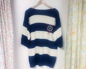 Vintage Nautical Wide Striped Sweater, plus size