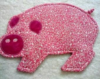 Pig Mug Rugs - Choose Color - Set of Two - Pig Coasters - Mug Rugs - Coasters